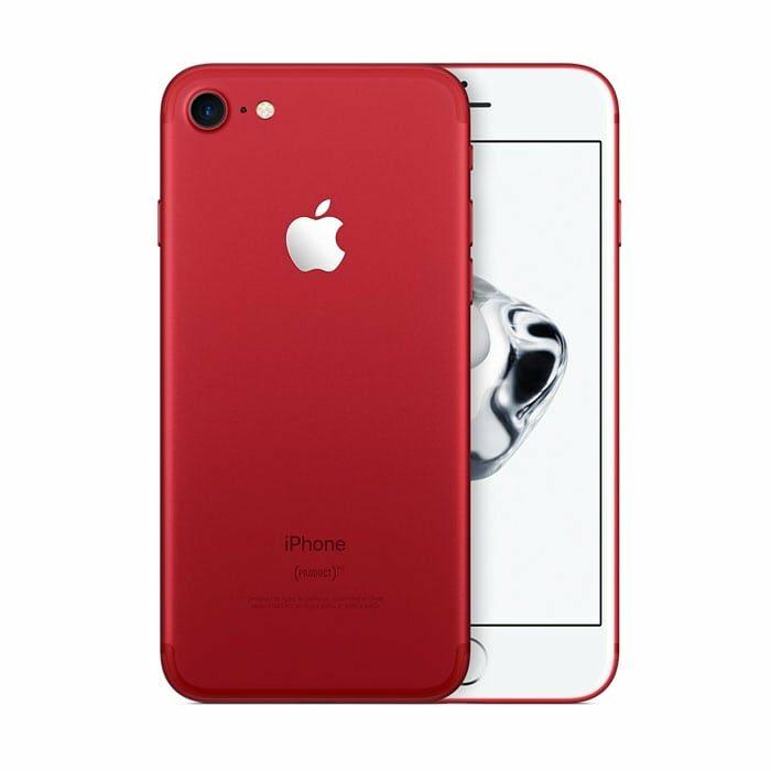 Iphone 7 recondicionado, de cor vermelha, com capacidade de 256gb